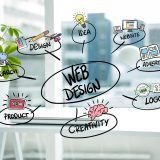 the padding between the title digital composite of business graphics with office background